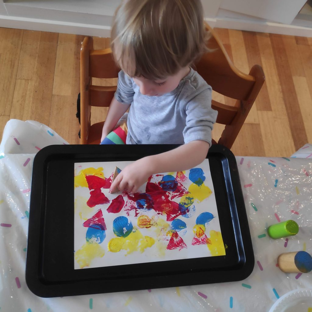 Paint stamping for children