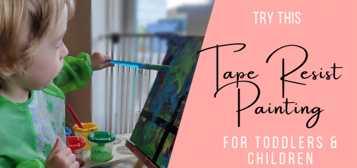 Toddler painting on a small canvas
