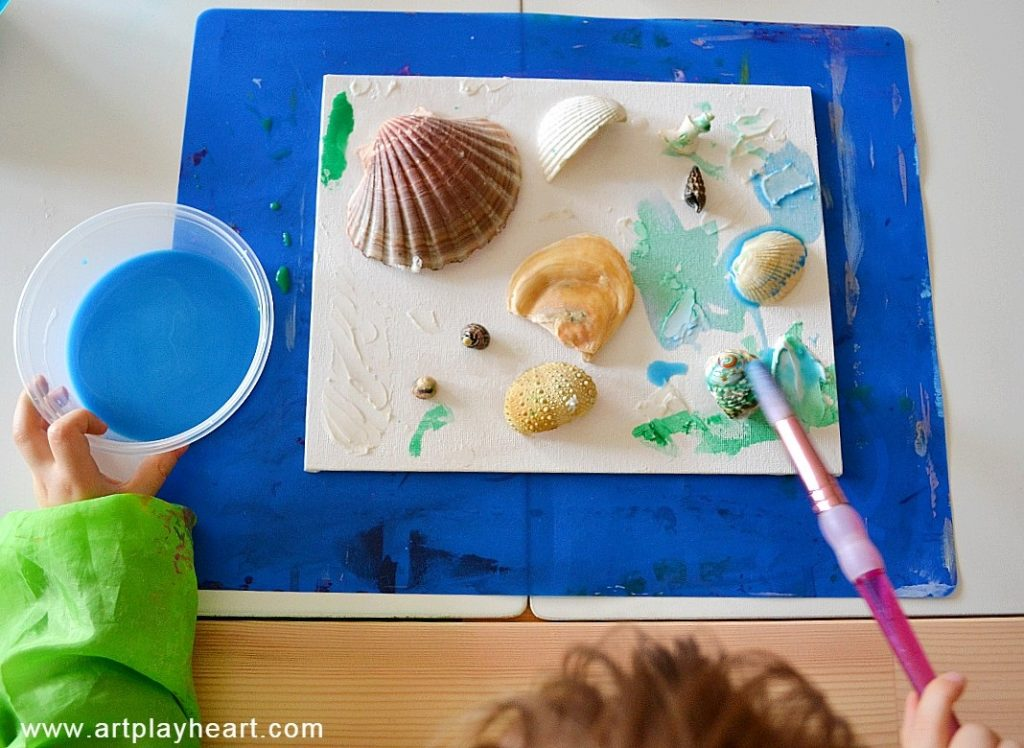 Painting Seashell collage canvas