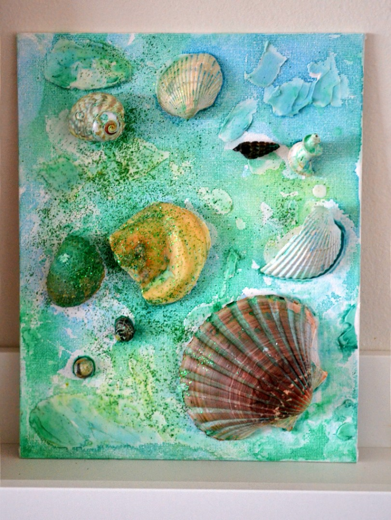 Create a  watercolour seashell collage for toddlers and kids