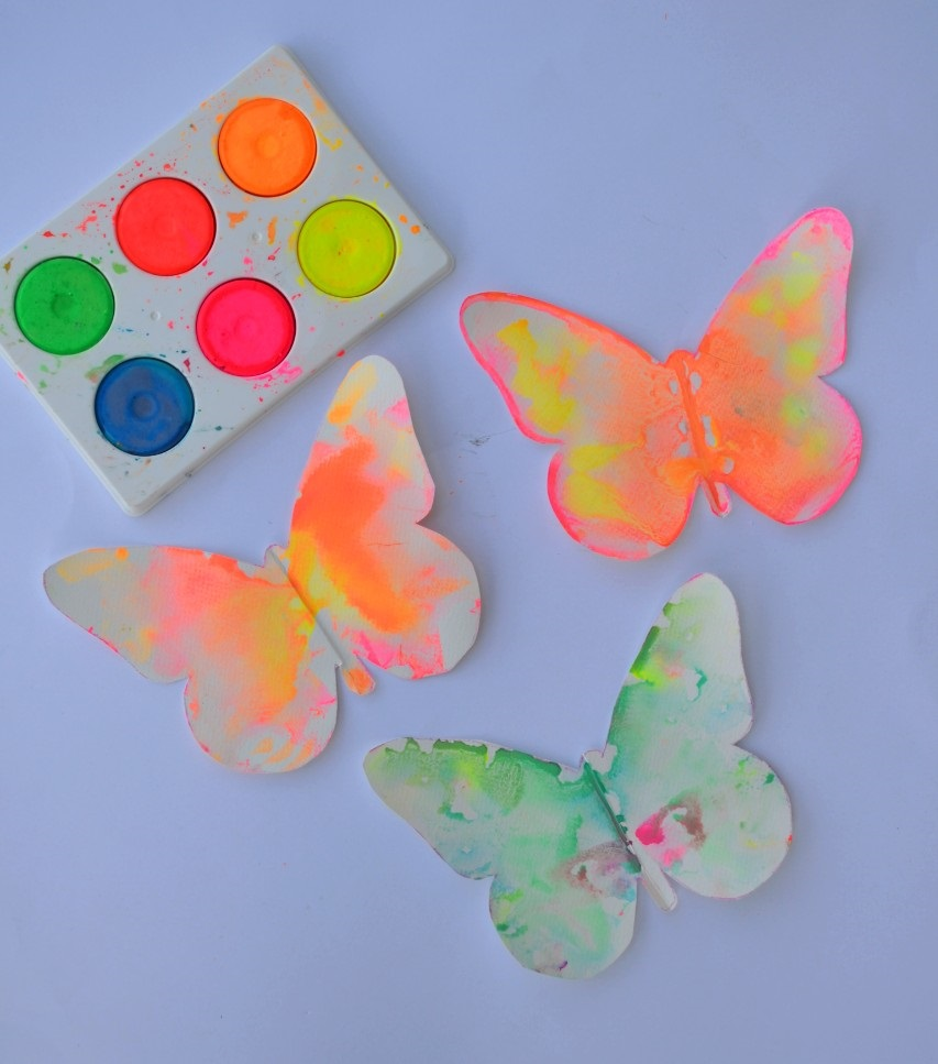Three paper butterflies -Butterfly symmetry painting for kids