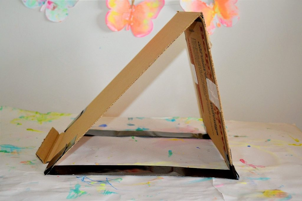 Side angle of completed cardboard easel